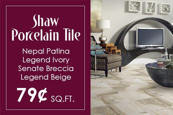Shaw Porcelain Tile starting at 79¢ sq.ft.